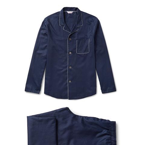 Lombard Cotton-Jacquard Pajama Set
