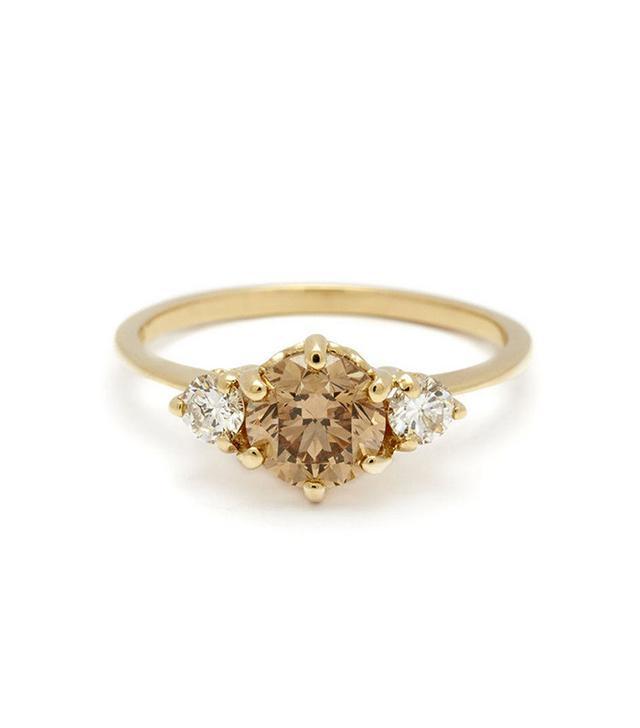 Anna Sheffield Hazeline Three Stone Ring - Champagne Diamond