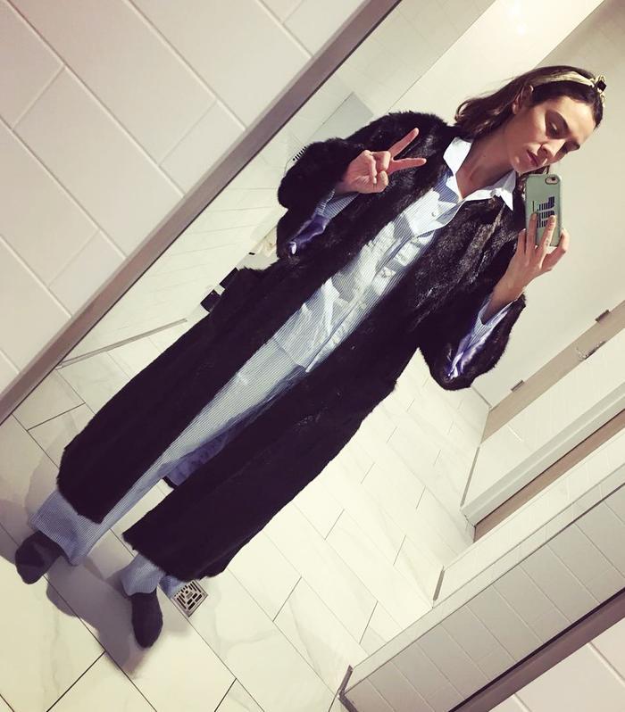 Best Loungewear: Alexa Chung sports striped cotton pyjamas.