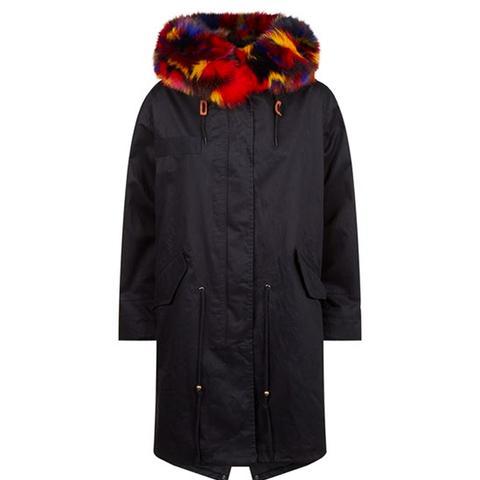 Darling Raccoon Fur Trim Parka Jacket