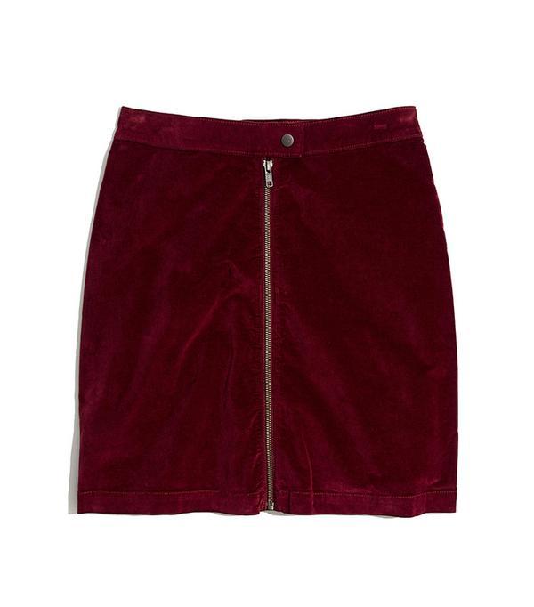 Madewell Studio Zip Skirt in Velvet