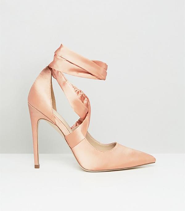 ASOS Pino Satin Lace Up Pointed Heels