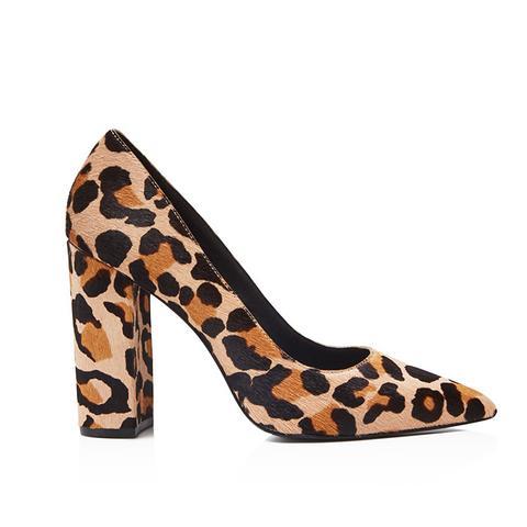 Celina Leopard Print Calf Hair Block Heel Pumps