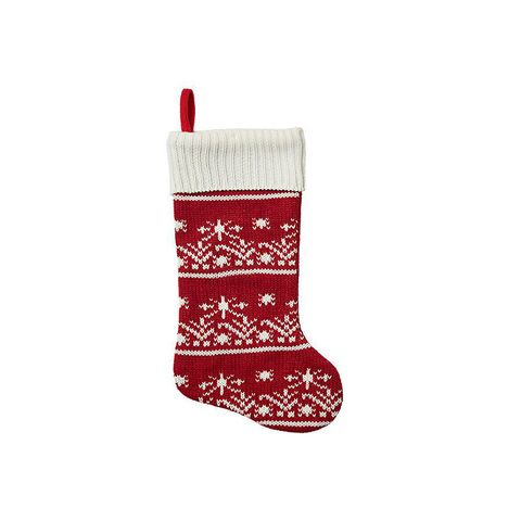 Red and White Knit Stocking