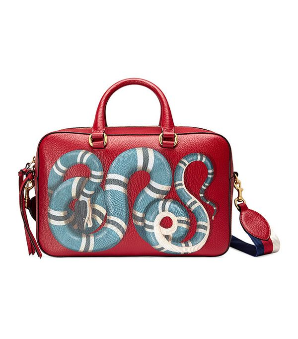 Gucci Snake Print Leather Top Handle Bag
