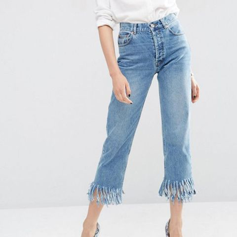 Authentic Straight Leg Jeans in Oxford Wash with Fringed Hem
