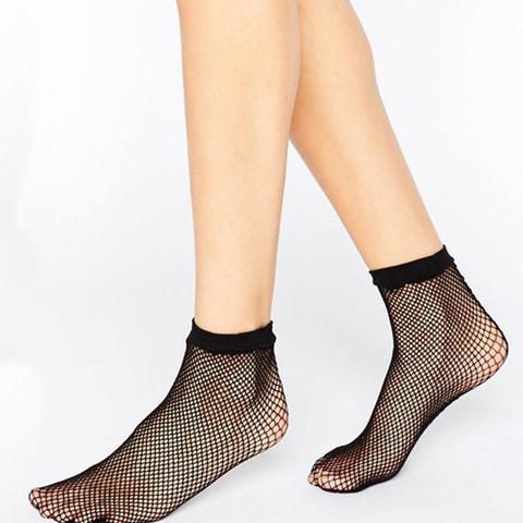 Fishnet Seam Back Ankle Socks