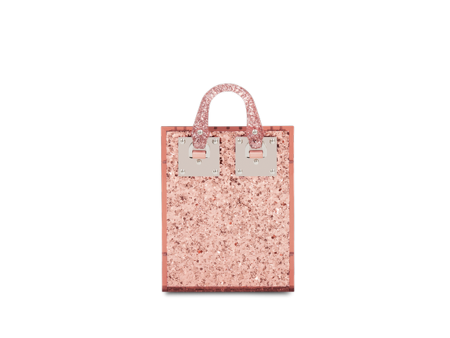 Sophie Hulme Pink Glitter Compton Evening Tote