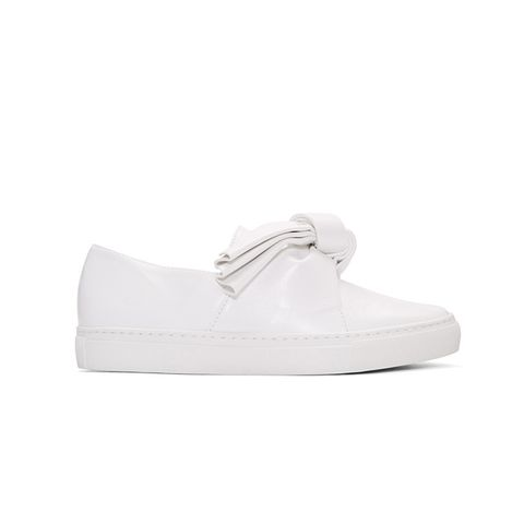 White Leather Bow Slip-On Sneakers