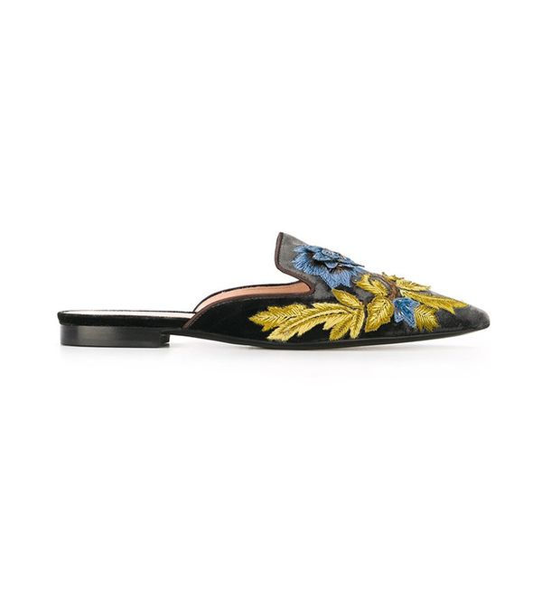 Alberta Ferretti Embroidered Mules