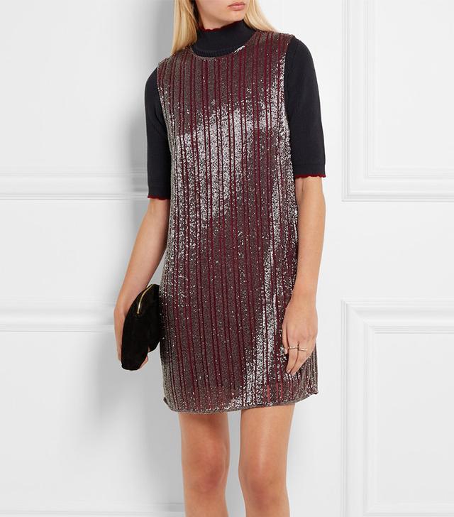 Ganni Humphrey Beaded Georgette Mini Dress