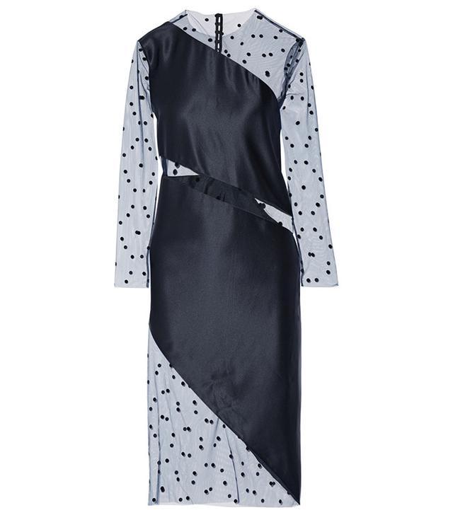 Michelle Mason Flocked Tulle-Paneled Silk-Charmeuse Dress