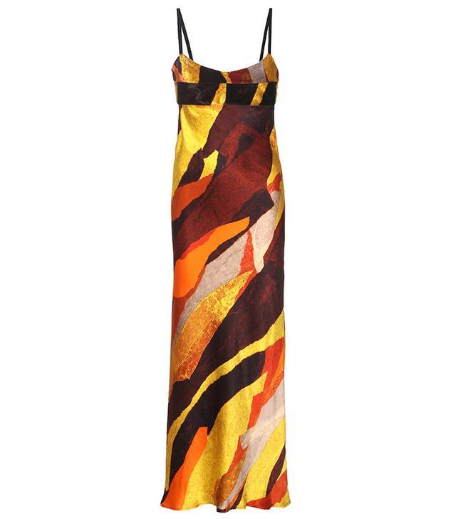 Acne Studios Elina Printed Satin and Velvet Slip Dress