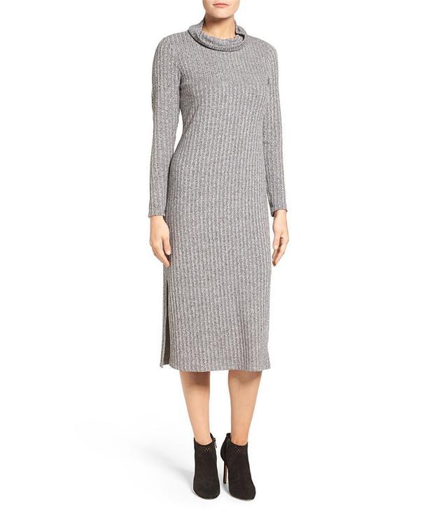 Bobeau Ribbed Side Slit Sweater Dress