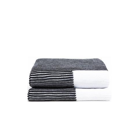 White Garter Stitch Blanket With Black Edge