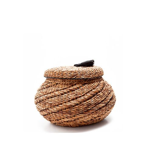 Large Oval Basket With Tassel Lid