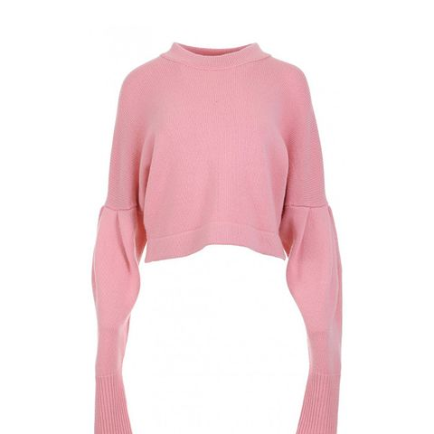 Cashmere Pleated Sleeve Sweater