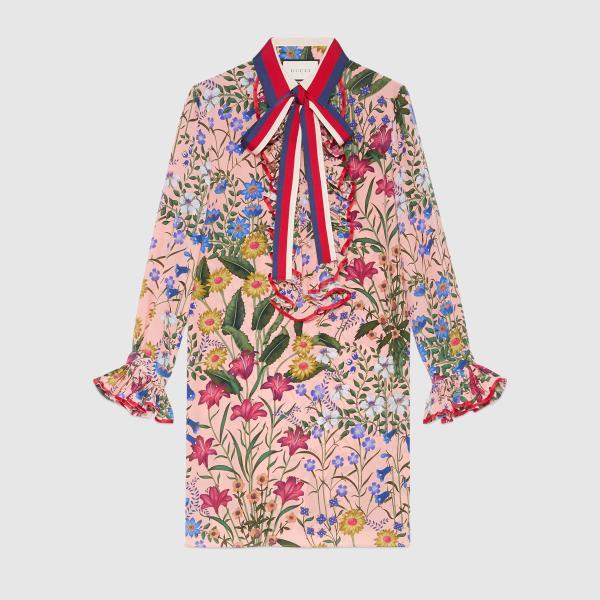 Gucci Silk Cotton Embroidered Dress