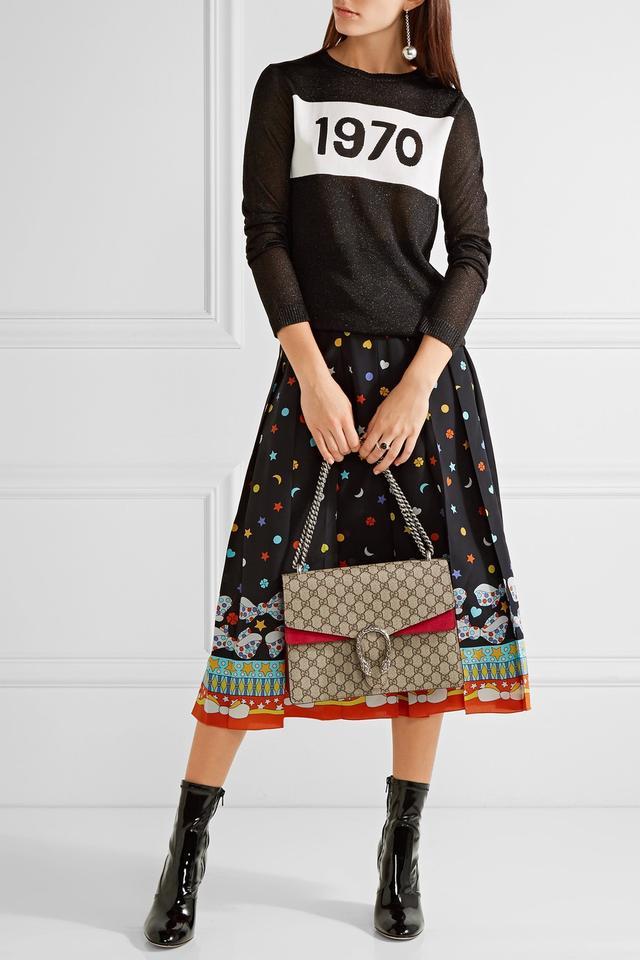 Gucci Dionysus Medium Coated-Canvas and Suede Shoulder Bag