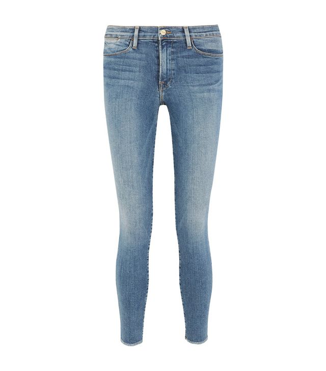 Frame Mid-Rise Frayed Skinny Jeans