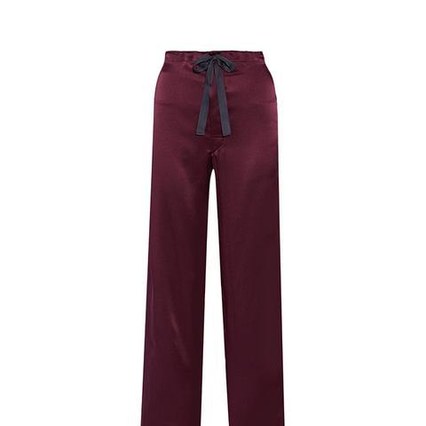 Ally Silk-Twill Pajama Pant
