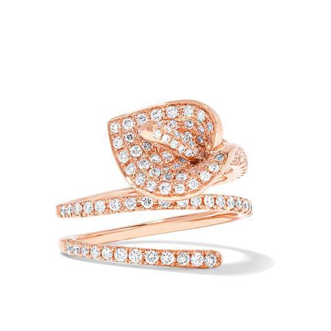 Calla Lily Coil 18-Karat Rose Gold Diamond Ring