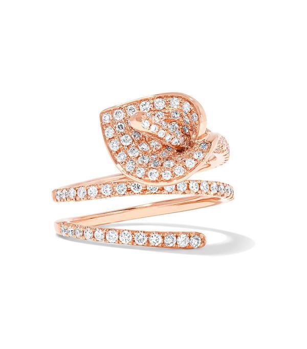 Anita Ko Calla Lily Coil 18-Karat Rose Gold Diamond Ring