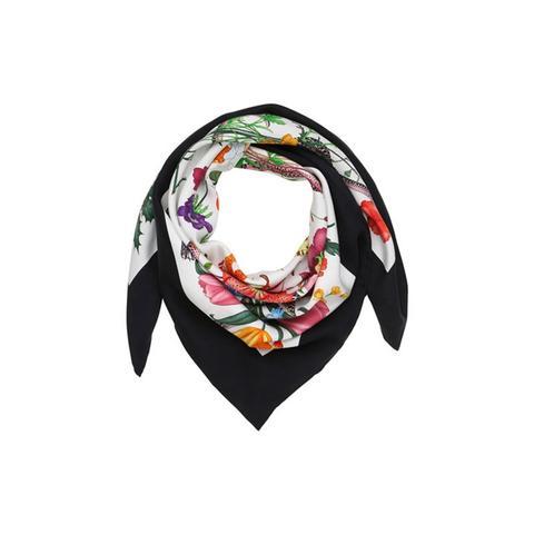 Floral Snake Print Silk Foulard