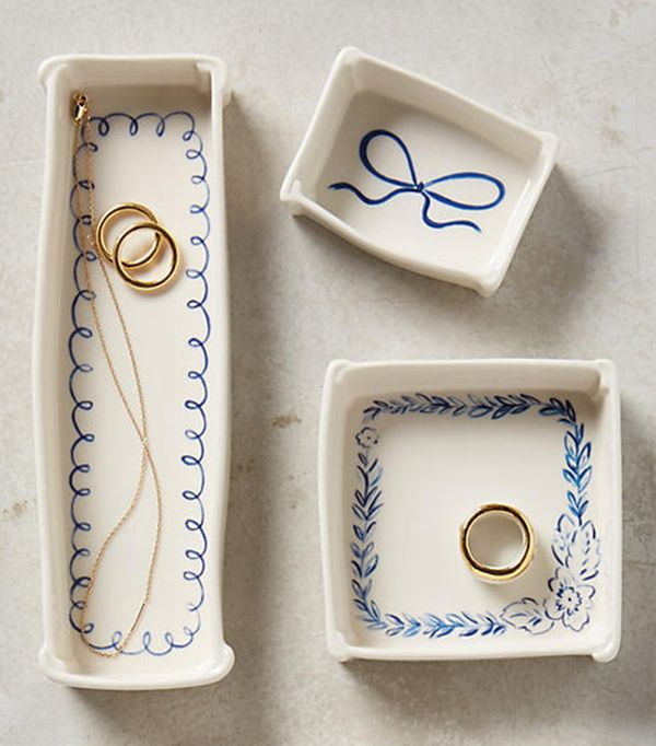 Anthropologie Indigo Illustration Trinket Dish
