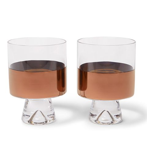 Tank Set of Two Painted Lowball Glasses