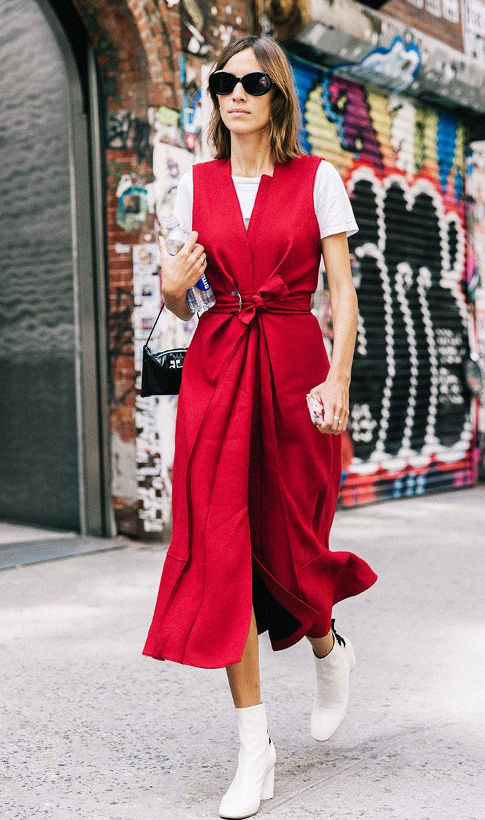 Alexa Chung in red dress and white booties at NYFW