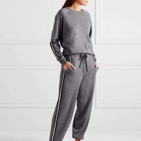 London Striped Silk-Blend Sweatshirt and Track Pant Set