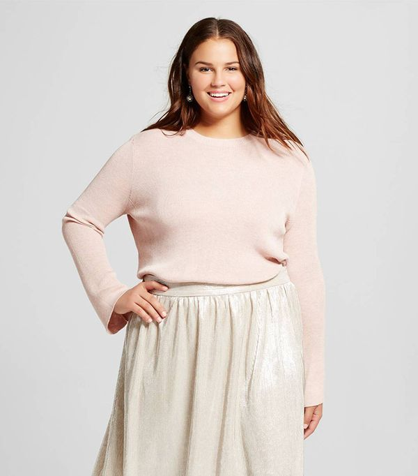 Who What Wear Women's Plus Size Bell Sleeve Crew Sweater