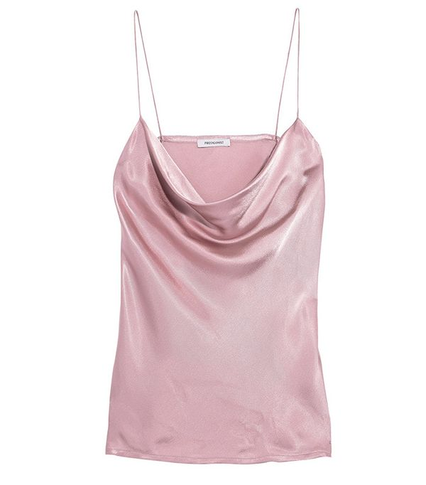 Protagonist Draped Hammered-Charmeuse Camisole