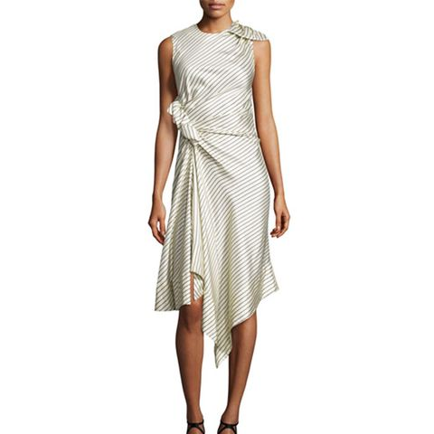 Pinstripe Silk Twill Dress