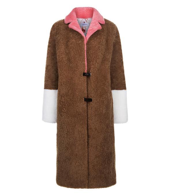 Camel Shearling Colour Block Coat