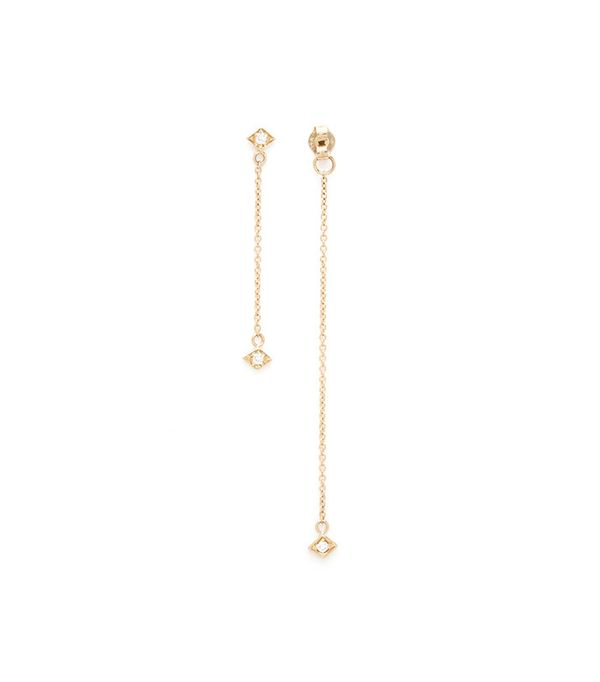 Azlee 2-Strand Lone Burst Earring 18k Yellow Gold & Diamonds