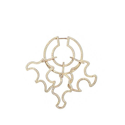 Diamond Pavé Open Sculptural Single Statement Earring