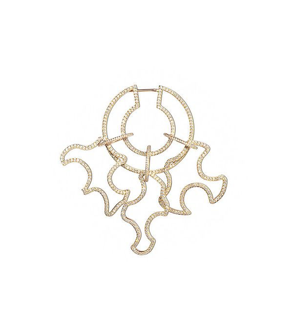 Paige Novick Diamond Pavé Open Sculptural Single Statement Earring