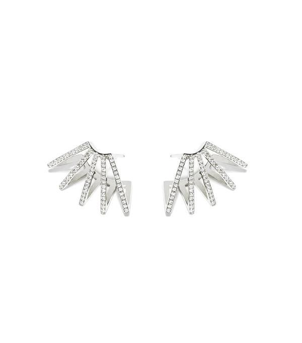Azlee Circuit Diamond Earrings 18k White Gold