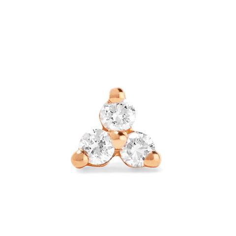 Tiny 14-Karat Rose Gold Diamond Earring