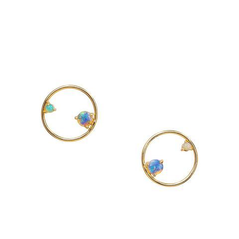 Opal Circle Earrings