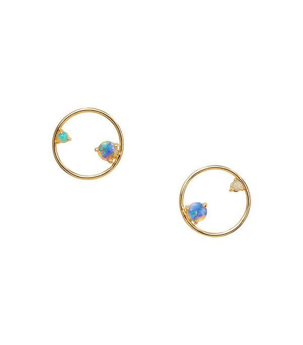 Wwake Opal Circle Earrings