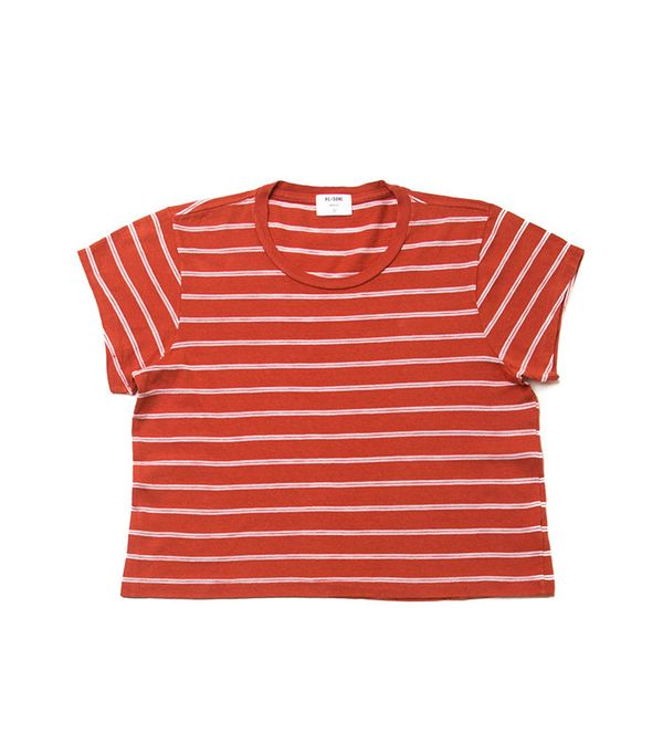 Re/Done 1950's Striped Boxy Cropped Tee