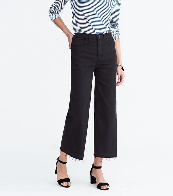 Madewell Wide-Leg Crop Jeans in True Black: Drop-Hem Edition