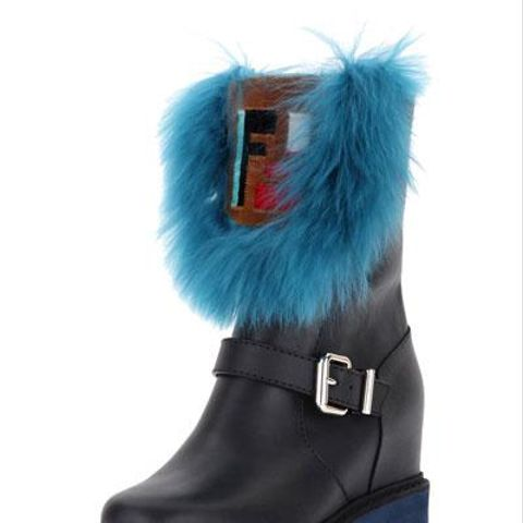 Tall Hidden Wedge Fur Boot