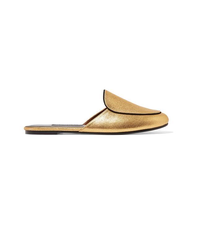 Newbark Liza Metallic Brushed-Leather Slippers