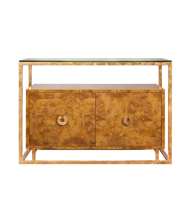 Worlds Away Burl Wood Cabinet