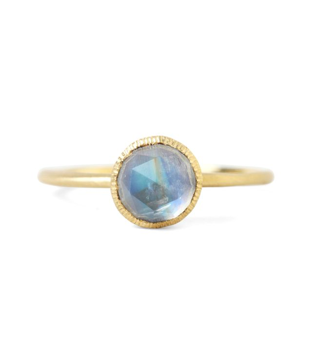 Satomi Kawakita Rainbow Moonstone Solitaire Ring