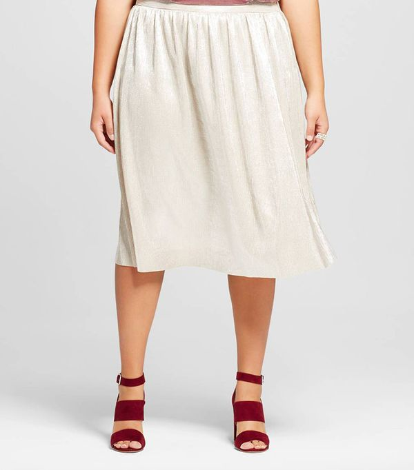 Who What Wear Women's Plus Size Micro Pleat Midi Skirt